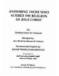 ANSWERING THOSE WHO ALTERED THE RELIGION OF JESUS CHRIST