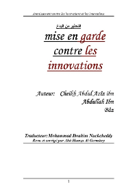 mise en garde contre les innovations
