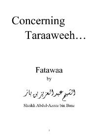Concerning Taraaweeh   … Fatawaa