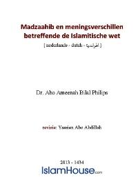 Madzaahib en meningsverschillen betreffende de Islamitische wet