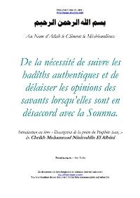 De la nécéssité de suivre les hadiths authentiques