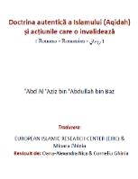 Doctrina autentică a Islamului (Aqidah) și acţiunile care o invalidează