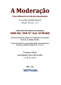 A Moderação e sua influencia na vida dos muçulmanos
