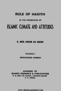 Role Of Hadith In The Promotion Of Islamic Climate And Attitudes