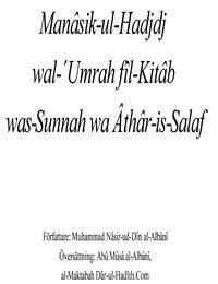 Manâsik-ul-Hadjdj wal-´Umrah fîl-Kitâb was-Sunnah wa Âthâr-is-Salaf