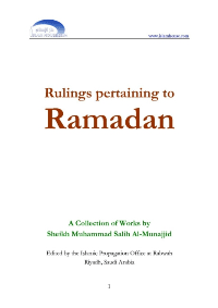 Rulings pertaining to Ramadan