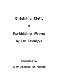 Enjoining Right & Forbidding Wrong