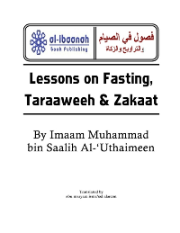 Lessons on Fasting, Taraaweeh & Zakaat