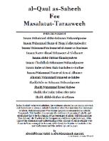 Al-Qaul as-Saheeh Fee Masalatut-Taraaweeh