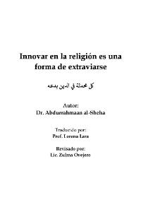 Innovar en la religión es una forma de extraviarse