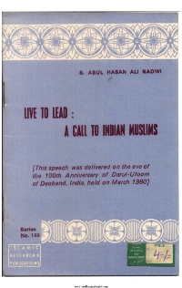 Live to Lead A Call to Indian Muslims