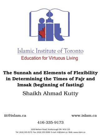 Determining the Times of Fajr and Imsak