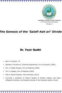 The Genesis of the Salafi Ashari Divide