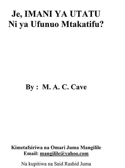 Je, IMANI YA UTATU Ni ya Ufunuo Mtakatifu