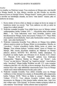 MASWALI 60 KWA WAKRISTO